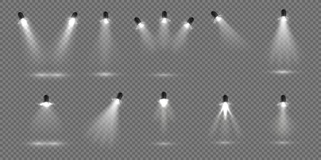 Spotlight for stage. Realistic floodlight set. Illuminated studio spotlights for stage. Vector illustration stage lighting effect for theater or concert backdrop