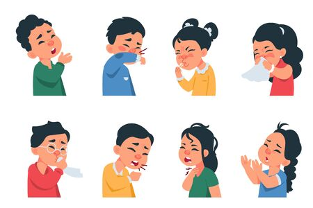 Sneezing kids. Cartoon boys and girls characters coughing and catching flu, coronavirus disease symptoms and prevention concept. Vector kids with virus infection sneezes, cough, headache Vector Illustration