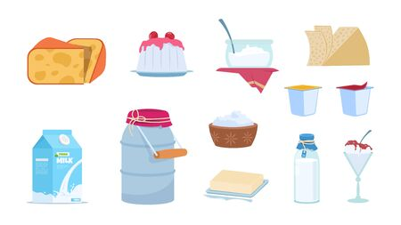 Dairy products. White milk containers, cheese slices, butter brick, bowls of yogurt and ice cream. Vector set isolated illustration of cartoon milk products