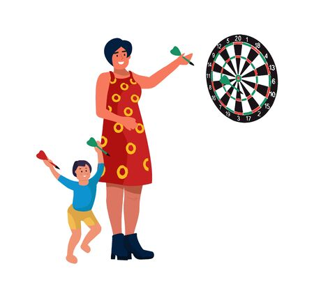 Mom and son at home. Vector illustrations mother play darts with child. Cartoon little boy plays with woman, throws darts at target