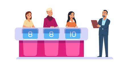 TV show. Leader asks contestant questions and selects winner. Vector cartoon quiz intellectual game Ilustración de vector