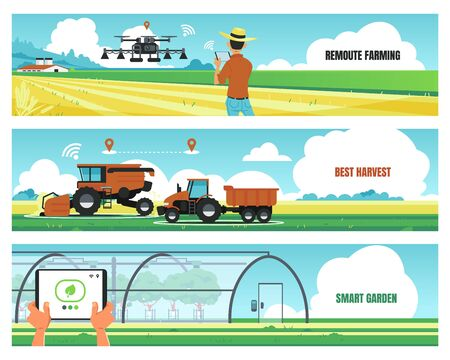 Agricultural banners. Smart farming and using futuristic technologies for growing food, soil work automation concept. Vector image agro digital technology flyer Illustration