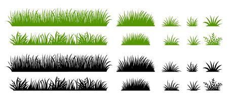 Silhouette d'herbe verte et noire. Champ de mauvaises herbes de dessin animé. Illustration plate de pelouse. Ensemble d'éléments de logo vectoriel éco et organique Logo