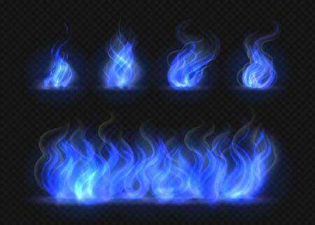Realistic blue fire flames set. Transparent torch effect, abstract blue light flare, campfire design template. Isolated vector 3D illustration blazing gas effect