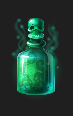 Magic poison potion. Cartoon game interface element. Vector illustration magical laboratory ingredients in bottle for poisoning