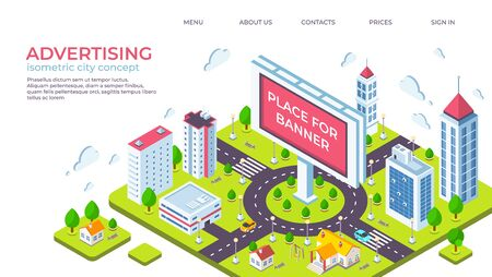 Isometric city billboard. Landing page with 3D city landscape and advertising banner. Vector illustration outdoor ads concept or website page for obtaining building permission Illustration