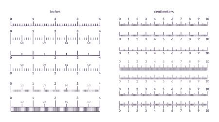 Ruler scale. Measuring metrics and inch indicators, precision line graphic with centimeter marks. Vector isolated illustration set of ruler signs for measurement