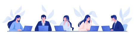 Call center. Customer support and information service concept with cartoon office people, operators on hotline with headsets. Vector illustrations set company call operator employees