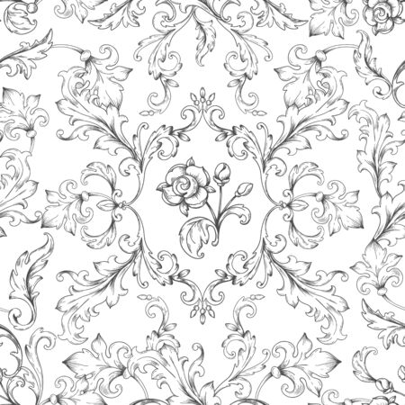 Baroque ornament pattern. Decorative floral border elements with engraved leaves, vintage victorian seamless texture. Vector heraldic wallpaper Иллюстрация