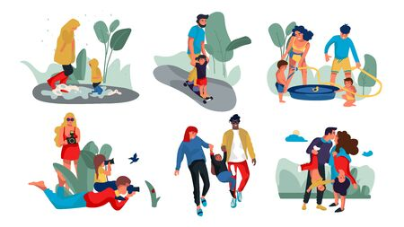 Family outdoor characters. Parents and children trendy cartoon persons spending time together and doing outdoor activities. Vector isolated illustrations group happy people