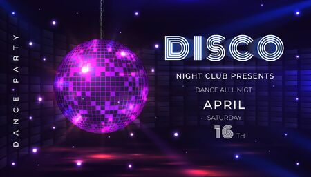 Disco party poster. Dance and music night party flyer with 80s disco ball and light effects. Vector illustration invite on glamour celebration with mirror sphere banner Vettoriali