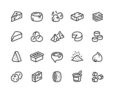 Cheese line icons. Sour dairy products, mozzarella parmesan ricotta cheddar and blue cheese. Vector collection outline set of brie camembert and butter cheese