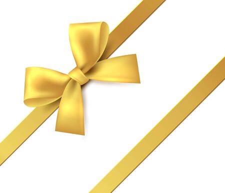Gold bow. Gift, present golden shiny ribbon. Vector isolate tape for design greeting and discount card on white background Ilustración de vector