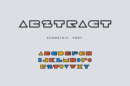 Minimal font. Abstract geometric alphabet with funny colored letters, pop art cartoon font. Vector illustration uppercase type typography fonts design