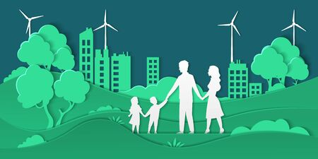 Eco city and family. Paper cut smart city with green energy ecosystem and happy family, friendly ecology concept. Vector paper illustrations environment, shapes family in origami cut background nature Illusztráció