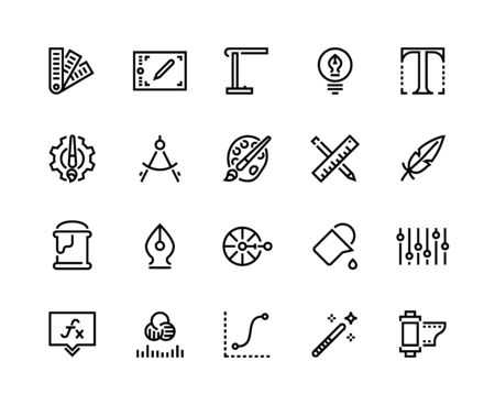 Graphic design line icons. Drawing and art tools, soft and supplies, graphic tablet pallet artwork professional instruments. Vector flat symbols tools illustrations set