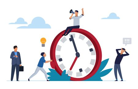 Deadline concept. Office people work in high stress. Flat cartoon vector illustration characters working overtime for effective organization process working Stock Illustratie