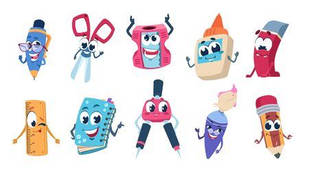 School cartoon characters. Pencil book and educational stationery mascots with happy faces. Vector flat funny school supplies set on white background