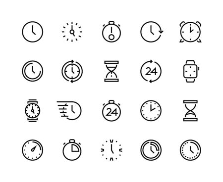 Clock line icons. Time management and schedule planning, simple line symbols of calendar alarm wrist watches and hourglass. Vector image time and date set