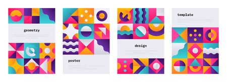 Geometric shape poster. Memphis journal cover with Swiss geometric composition, banner flyer with abstract bauhaus shapes. Vector geometrical colorful patterns or wallpaper set 일러스트