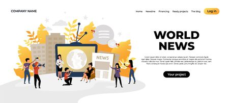 News landing page. Mass media and online news source web page concept, content creating and interview recording. Vector illustration social journalism website for internet communication Stock Illustratie