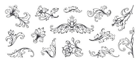 Baroque ornament. Vintage floral border elements, engraved leaves and frame filigree arabesque. Vector decorative vintage ornamental set for decorative illustration or engraving