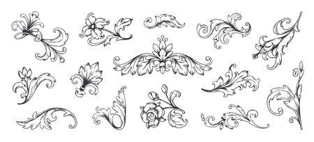 Baroque ornament. Vintage floral border elements, engraved leaves and frame filigree arabesque. Vector decorative vintage ornamental set for decorative illustration or engraving Stockfoto - 149257760