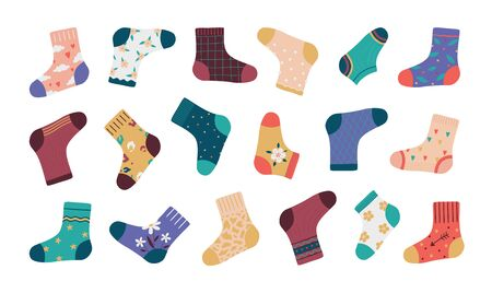 Socks. Cartoon fashion socks isolated set, funny doodle footwear with simple pattern and different stylish elements. Vectors illustration collection trendy apparel for kids