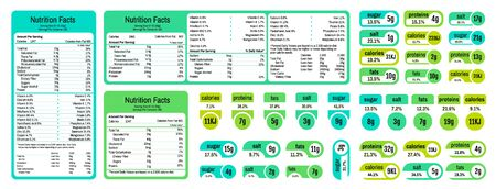 Nutrition table. Information table of ingredients and calories, labels with daily value of salt sugar fat and saturates. Vector nutrition label facts about vitamins on food Stockfoto - 149257803