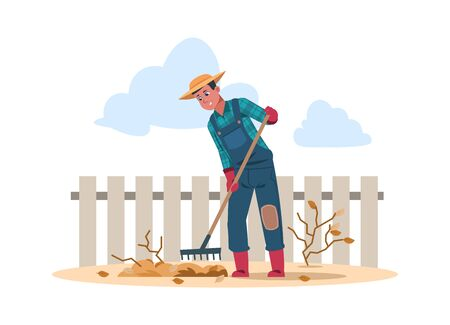 Agricultural worker cartoon character doing farming job. Vector illustration agriculture human work in garden Stockfoto - 149257809