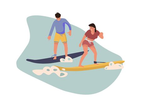 Cartoon character surfing. Vector colour image people beach activities. Summer illustrations surfboard on waves on white background Stock Illustratie