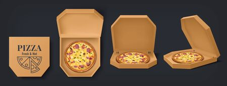 Realistic box with pizza. 3D cardboard open and closed food containers, empty and with pizza. Vector package mockup design for brand design identity restaurant delivery