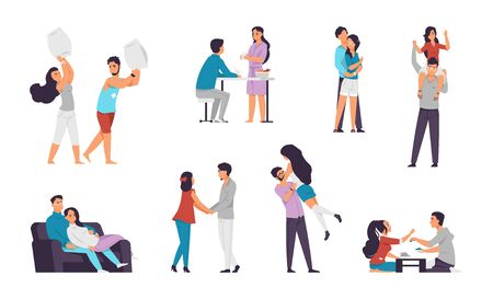 Cartoon couples. Happy characters in love, boy and girl on romantic date, spending time together and staying at home. Vector illustrations people romantic scenes set