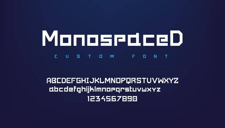 Logo font. Futuristic geometric alphabet with uppercase and lowercase symbols for logo, game UI interface and poster headers. Vector image dynamic abstract typeface for creativity 일러스트