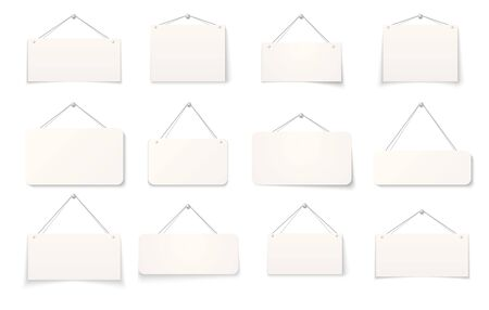 Hanging sign. Realistic blank paper signboards isolated on white background, 3D empty hanging cardboard signs on the wall. Vector set signboard for service work or shops