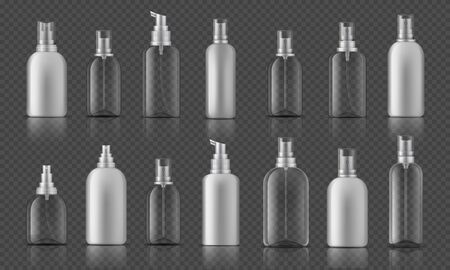 Spray bottle. Sanitizer gel for hands hygiene, corona virus prevention concept, cosmetic bottle with pump. Vector illustration mock up plastic spray container on transparent background