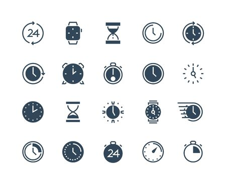 Clock black icons. Time and calendar infographic symbols with stopwatch alarm wristwatch and hourglass. Vector simple isolated sign time management set
