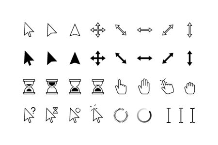 Cursor icons. Classic pointer arrows, hourglass and hands with click hold and point state, computer mouse web buttons. Vector graphic pointers set for internet technology, click in window shape