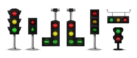 Traffic light. Realistic city stoplight with green yellow and red colors, hanging and standing 3D isolated semaphore with arrows and human icon. Vector set image transport lighting sign 일러스트