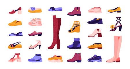 Cartoon footwear. Elegant and casual shoes, seasonal summer sandals and autumn boots, running sneakers. Vector illustration cartoon fashionable male and female shoes