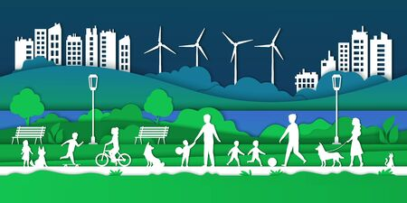 Paper Eco city. Happy families in park with children and dogs, smart city and environmental protection concept. Vector illustrations green futuristic background with house, family and pets