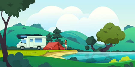Camping landscape. Cartoon countryside with forest lake and camp, beautiful nature scene with a couple in love. Vector illustration summer vacation on blossoming nature background
