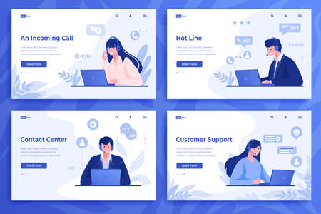 Customer support landing page. Cartoon call center operators and information service with online consultants with headset. Vector illustrations client support consulting web set