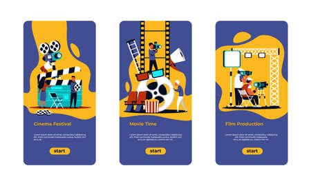 Movie making poster. Film festival, online cinema and movie production banners with cartoon film crew shooting scenes. Vector illustration onboard screens cinema industry Stockfoto - 150831030