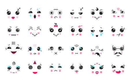 Kawaii faces. Cartoon anime and manga cute emoticons with big black eyes, funny faces with different emotions. Vector cartoons feelings expressions set