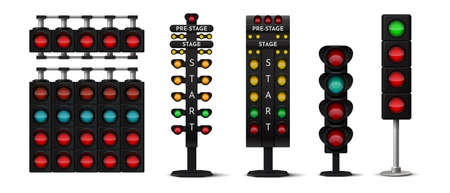 Race light. Realistic street traffic and sport car challenge signs with green and red stop lights and arrows. Vector race competition 3d set on white background