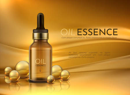 Cosmetic oil. Realistic advertisement banner with beauty cosmetics and golden oil drops. Vector luxury product with yellow liquid in brown bottle with pipette on the background bubbles