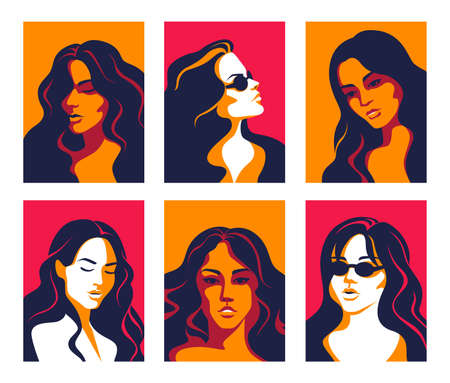Women portrait. Trendy flat posters of multicultural diverse faces, minimalistic pop art elements. Vector set illustration of different young female faces for UI profiles Stockfoto - 150831038