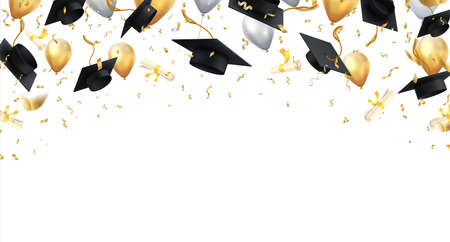 Graduation. Transparent background with realistic flying black degree caps confetti balloons and diplomas. Vector image school and university education banner with gold glitter on white background Stock Illustratie