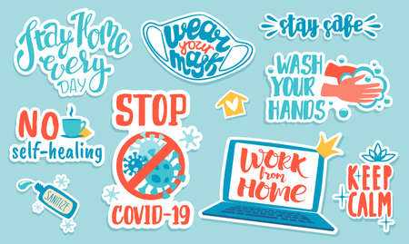 Corona virus stickers. Doodle Covid-19 prevention advice and quotes, hand drawn lettering and badges. Vector illustration pandemic icons set